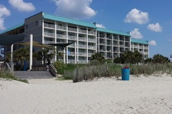 multi-story hotel taken from the beach, pet friendly hotel in myrtle beach